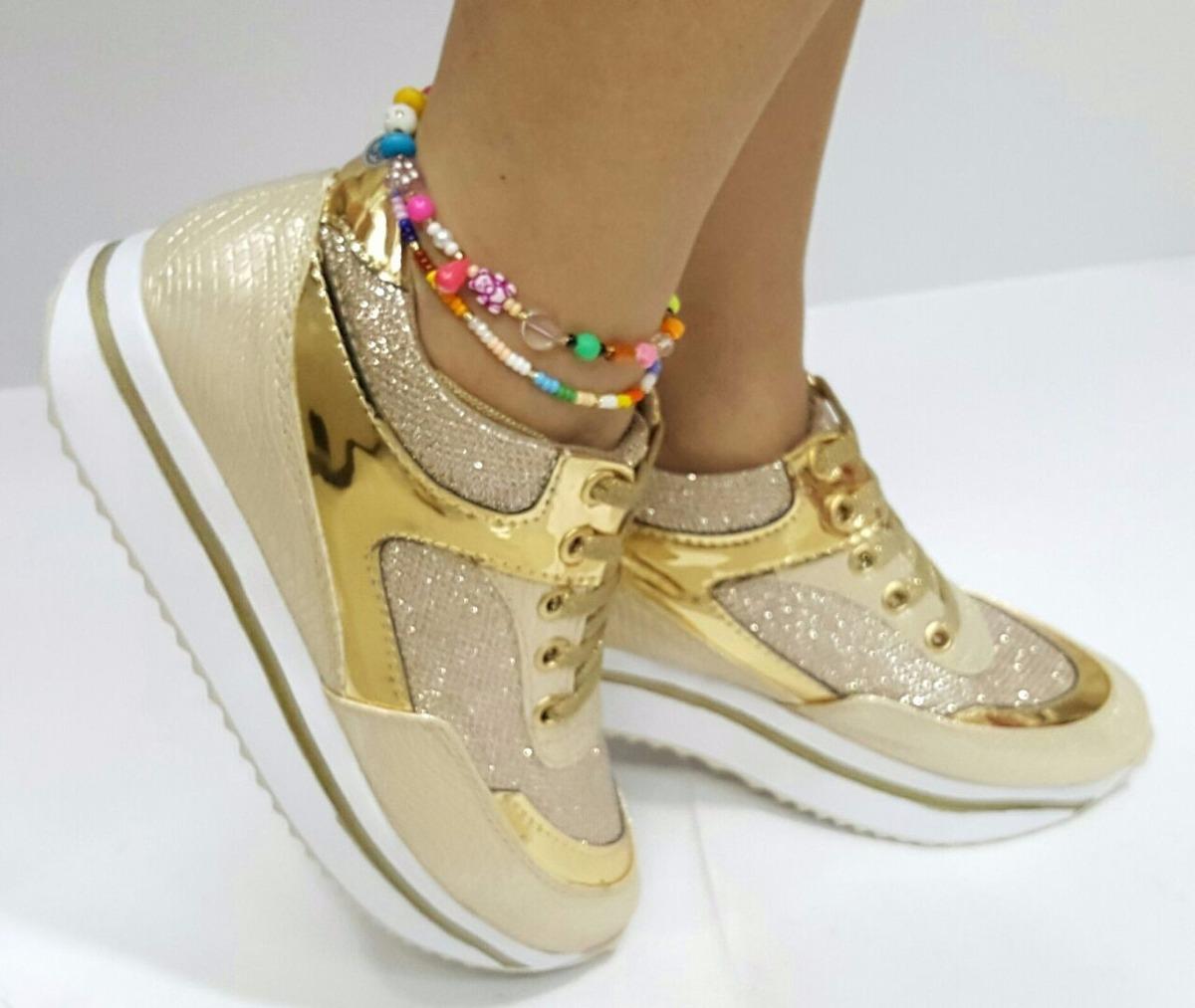 e06eb6fd zapatos calzados dorado tenis dama mujer fabrica en colombia. Cargando zoom.