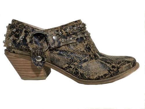 zapatos charritos texana mujer reptil tacha tejana bajo moda