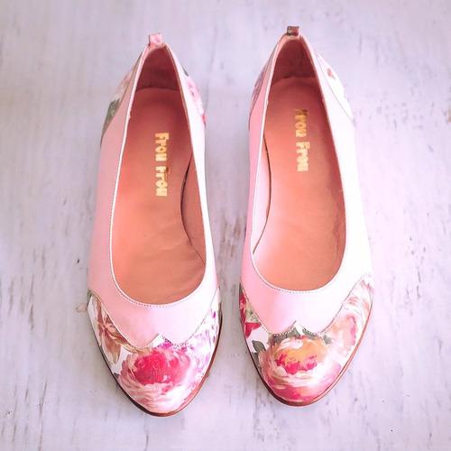 zapatos chatitas cuero rosa pink flores frou frou shoes