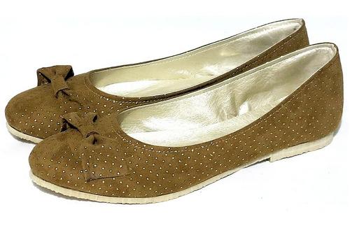 zapatos chatitas sin taco con moño y tachitas doradas nuevas