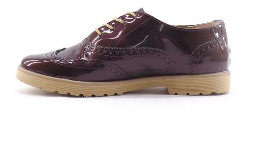 zapatos chatos acordonados charol dama mujer liquidacion