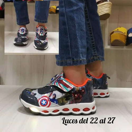 zapatos con luces deportivo spiderman superman y batman niño