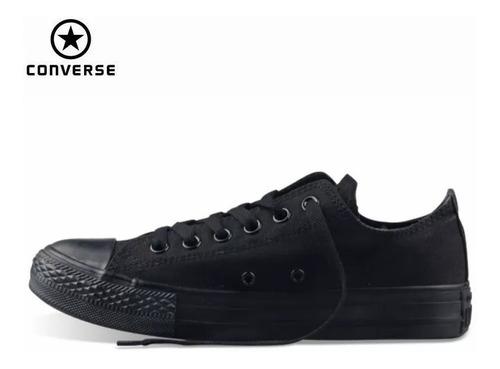 zapatos converse  all-star negro completo unisex tienda