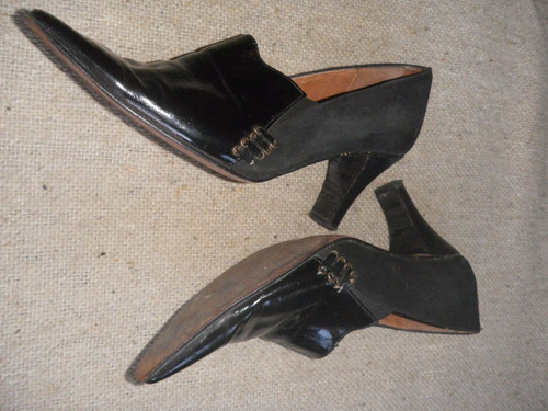zapatos cuero bottello en gamuza y charol negro - no envio