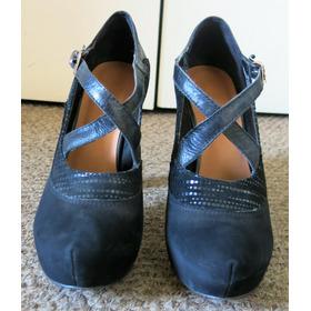 Zapatos Cuero Negros Plataforma Escondida