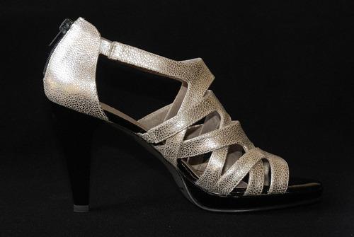 zapatos cuero plateados taco 9 milano bags