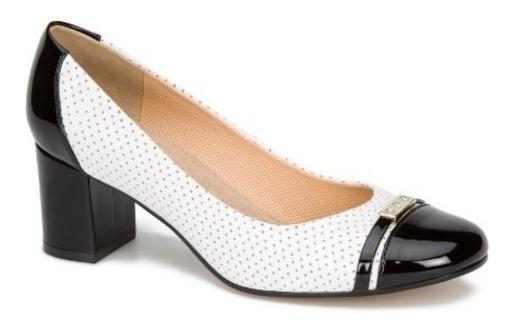 Negro Y Andrea Dama Piel Zapatos 2461441 Blanco Ancho Tacón K13lcTJF