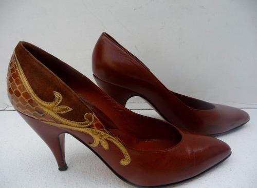 zapatos dama, piel-gamuza-marrón #37-tacón 9