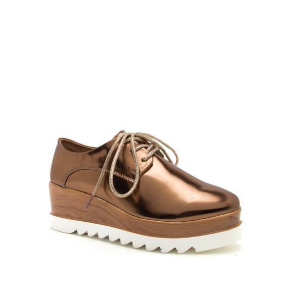 Zapatos Dama Tenis Con Plataforma Color Bronce Marca Qupid . 86c49cb543d0
