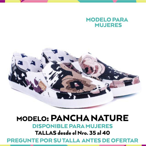 zapatos dama  zapatilla pancha shoes nature envio gratis