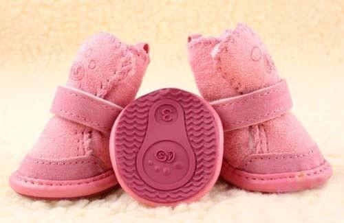 zapatos de algodón para perro talla 5 - color caqui y rosa