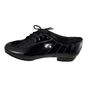 Zapatos De Baile Hombre Tango Salsa  Rock Flex Charol Negro