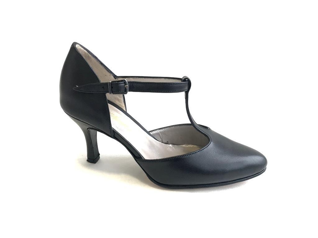 Baile Zapatos 8 67 Cuero Taco De Y Vaca Tango Negro Cm TKcl31uFJ5