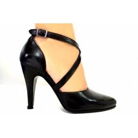 Zapatos De Baile,tango Cuero Negro Cerrados Con Tira Cruzada