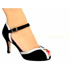 Zapatos De Baile,tango,salsa,fiesta Gamuza Negra Con Plata