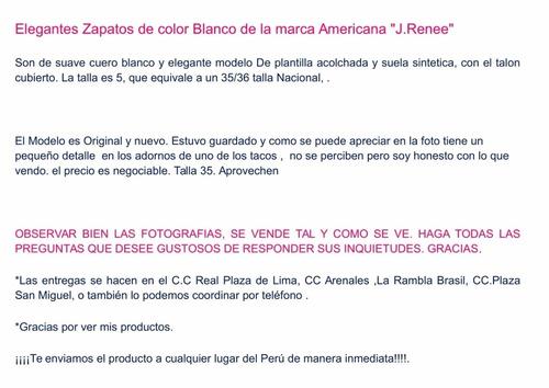zapatos de cuero blanco (americanos) marca j.renee, talla 36
