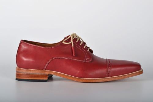 zapatos de cuero bordo para hombre - nuevo rosso
