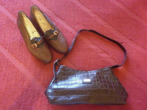 zapatos de cuero souliers + cartera de cuero andrea mabiani