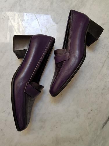zapatos de cuero violeta 2 usos