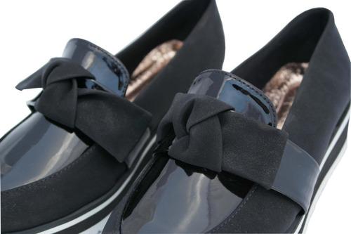 zapatos de dama, mocasín de moda 232-09 ventura charol negro