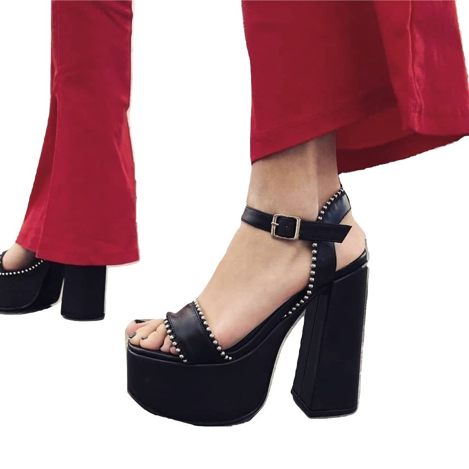 Cargando Zoom Negro De Importados Fiesta Plataforma Zapatos Sandalia Mujer  WnOvw0ggcq f68462b75b2