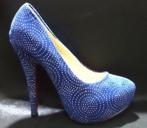 zapatos de fiesta plataforma azul con glitters nuevas 13 cm