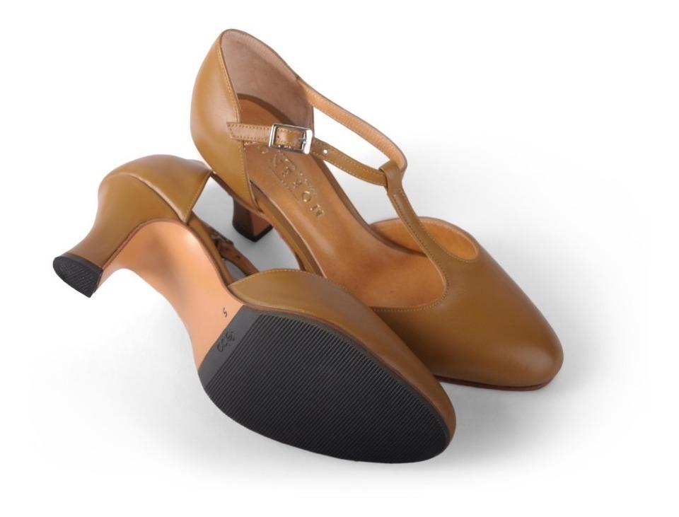 super popular 570dc 6b019 Zapatos De Folklore Cuero Camel Con 1/2 Suela De Goma