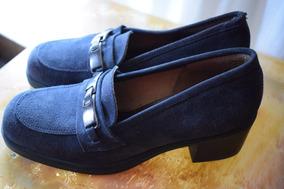 Zapatos De Mujer. Azules, De Gamuza. Talle 38