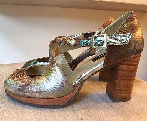 zapatos de mujer con taco 100% cuero colores
