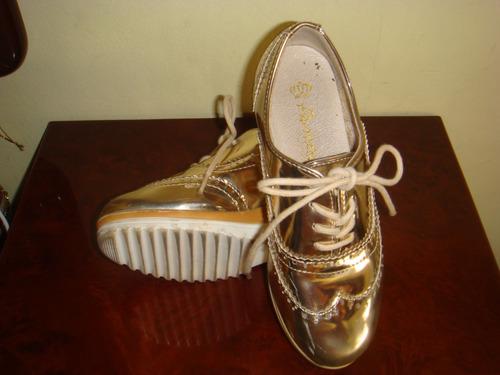 zapatos de niñas pavitas talla 30 dorados