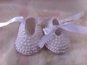 52b545023 Zapatos De Perlas Tejidos Para Bebe Niña