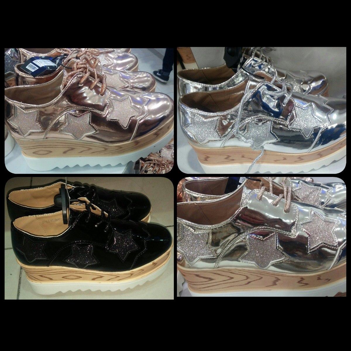 dcf8530172b45 zapatos de plataforma oxford dama moda metalizados brillante. Cargando zoom.