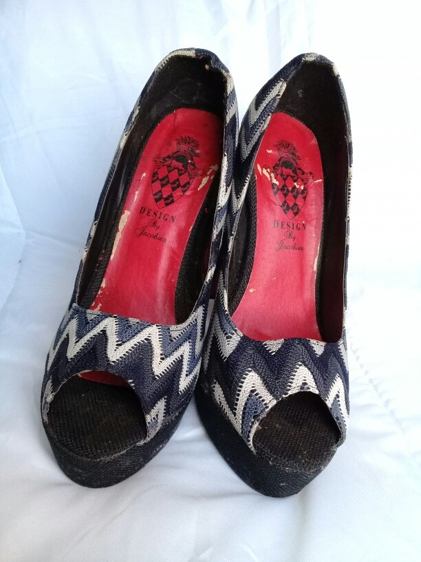 zapatos de tacon alto negro y blanco con suela roja talla 7. Cargando zoom. d7d8153529a
