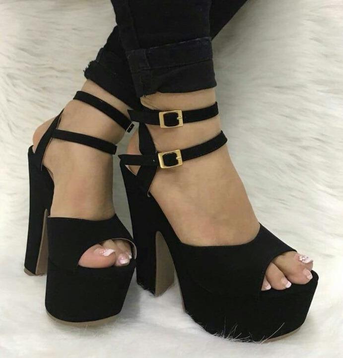 5580a315ee Zapatos De Tacón Negros Altos De Colombia Dama Moda Mujer -   84.840 ...