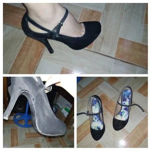 zapatos de tacón usados color negro número 7