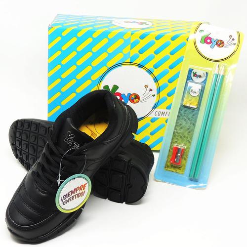 zapatos dep. escolares yoyo 14151l negros 32-39 envío gratis