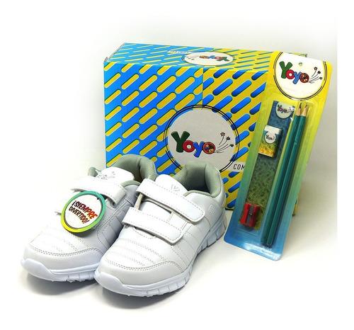 zapatos dep. escolares yoyo 14151v blanco 32-39 envío gratis