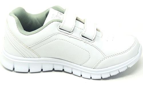 zapatos dep. escolares yoyo 15310v blanco 24-31 envío gratis