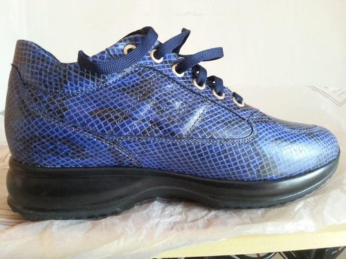 zapatos deportivo elegante damas azulino jaspeado con negro