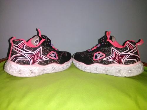 zapatos deportivos apolo con luces ledn°28 color negrofucsia