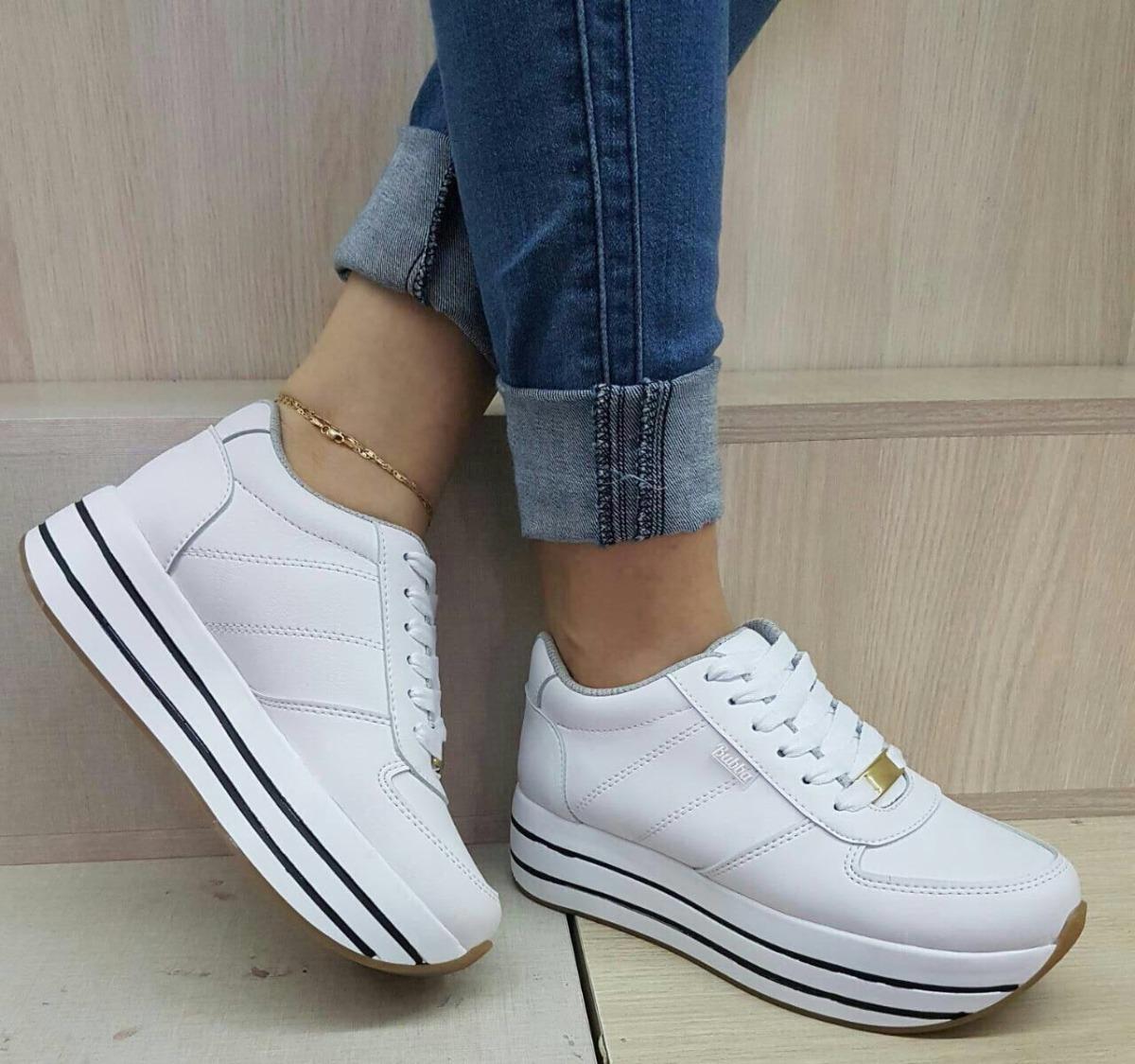 Deportivos Blancos Alta Suela Para Mujer Color Moda Zapatos TKFJc1l