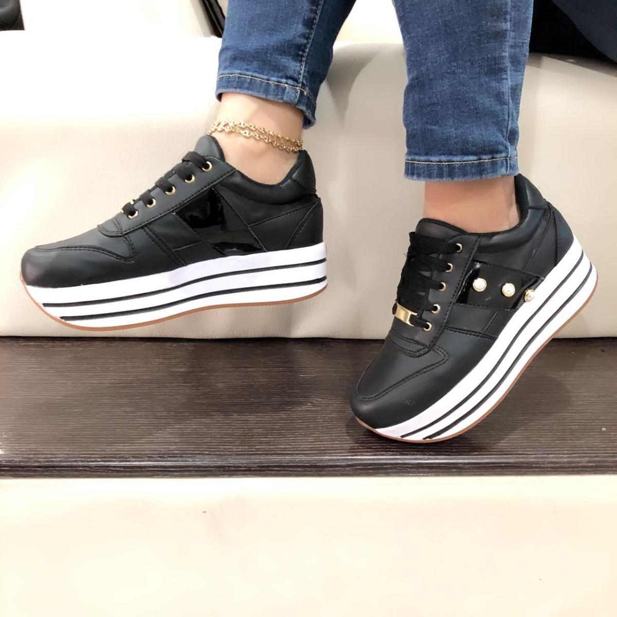 b1b0bc363346c zapatos deportivos tenis negros suela de moda para mujer. Cargando zoom.