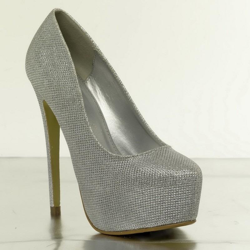 Zapatos Dorados Con Plataforma Plateados Para Fiestas