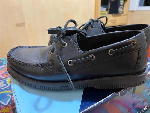 zapatos escolares náuticos de cuero stork kids impecables!!