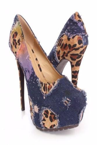 zapatos fiesta plataforma taco animal jean 6.5 37 - pedido