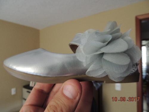 zapatos fiesta semi formales para niña color plata con moño