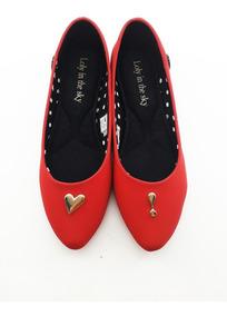 Zapatos Flats De Mujer Rojo