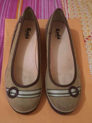 zapatos flats keds 100% originales camel   4 mex p/dama