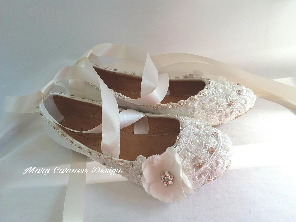 ecd801543b8 zapatos flats primera comunión novia cintas cristal vintage. Cargando zoom.