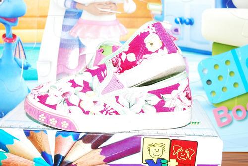 zapatos floreados de tela para niña (vendo o cambio)